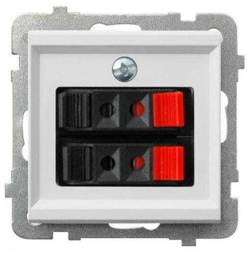 Розетка Ospel GG-2R/m/00 для динамиков, двойная, подключаемость проводов 0, 75мм2, белый