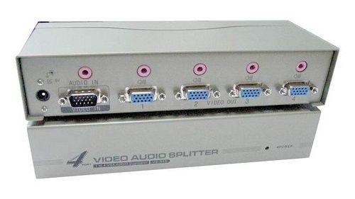 Разветвитель OSNOVO D-VA104 1VGA+1Стерео Аудио вх./4 VGA+4 Стерео Аудио. Расстояние передачи до 50м, разрешение до 1920х1440, 60Гц, подключение VGA(15