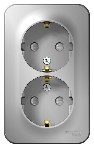 Розетка Schneider Electric BLNRA011213 2-ая с/з со шторками 16А, 250В, изолир. пластина Алюминий наруж розетка 2 ая se blanca наруж титан с з со шторками 16а 250в изолир пластина арт se blnra011214