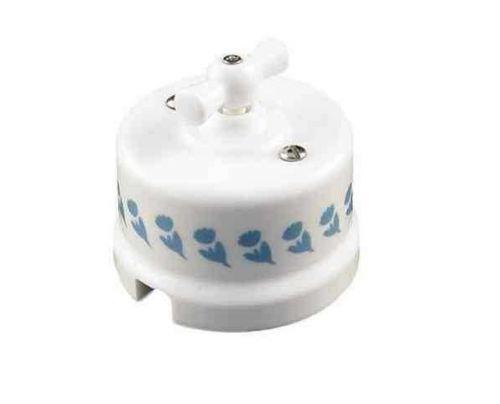 Выключатель Bironi B1-202-01-D7/3 белый, 2-клавишный, декор d7/3 выключатель 2 клавишный de fran happy цветок белый розовый