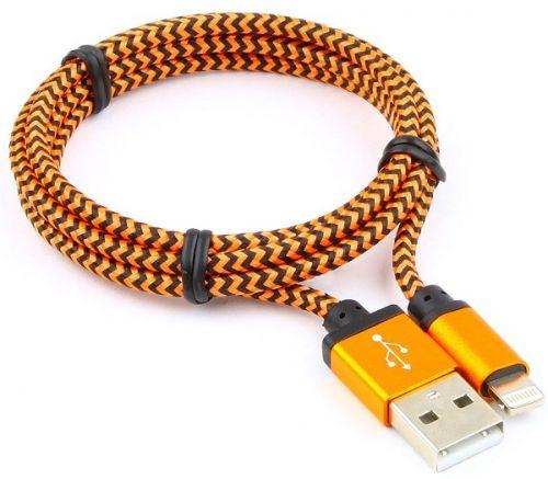 Кабель интерфейсный USB 2.0 Cablexpert AM/Lightning 8P CC-ApUSB2oe1m 1м, нейлоновая оплетка, алюминиевые разъем, оранжевый