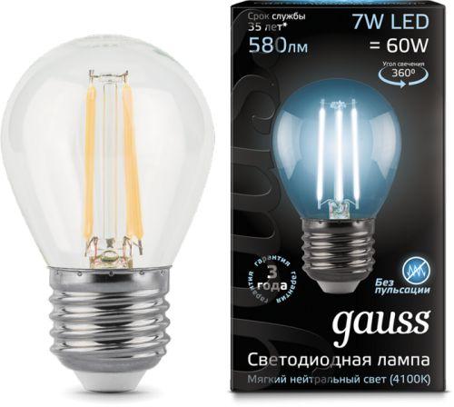 Фото - Лампа светодиодная Gauss 105802207 LED Filament Шар E27 7W 580lm 4100K лампочка gauss e27 шар dim 7w 590lm 4100k 105102207 d