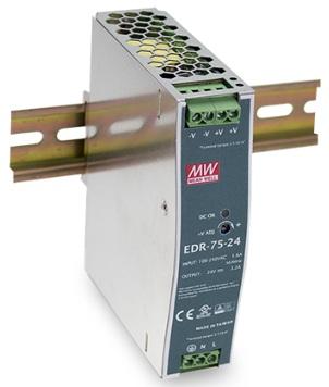 Преобразователь AC-DC сетевой Mean Well EDR-75-24 77Вт, вход 90…264V AC, 47…63Гц /127…370В DC, выход 24В/3.2A, рег. вых 24…28В, изоляция 3000В AC, в к