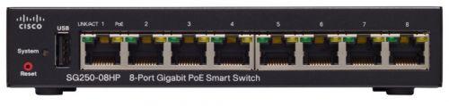 Фото - Коммутатор PoE Cisco SB SG250-08HP-K9-EU SG250-08HP, 8x10/100/1000 PoE+ ports with 45W cisco sf110d 08hp