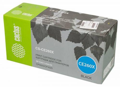 Картридж Cactus CS-CE260X для HP LJ CP4525 черный 17000стр.