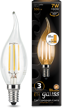 Лампа светодиодная Gauss 104801107-S LED Filament Свеча на ветру E14 7W 550lm 2700K step dimmable лампа gauss led filament свеча на ветру dimmable e14 5w 450lm 4100k 1 10 50