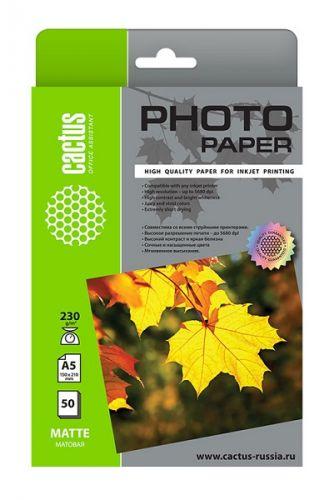Фотобумага Cactus CS-MA523050 A5/230г/м2/50л./белый матовое для струйной печати фотобумага cactus cs ga623050ed 10x15 230г м2 50л белый глянцевая для струйной печати