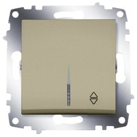 Переключатель ABB 619-011400-210 Cosmo одноклавишный, с подсветкой, 10А, 250В, IP20 (сх. 6) (титаниум)