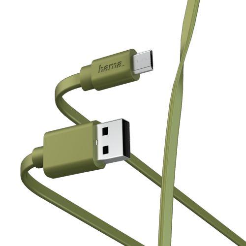 Фото - Кабель интерфейсный HAMA 00187228 microUSB (m)/USB A(m), 1м, зеленый плоский кабель интерфейсный hama 00187232 lightning usb 2 0 m 1м синий плоский