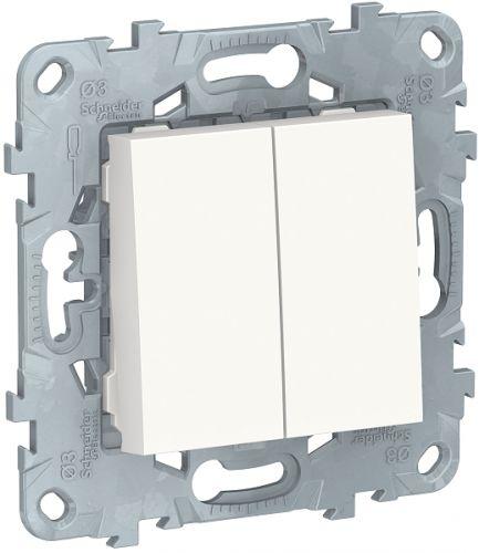 Фото - Выключатель Schneider Electric NU521118 UnicaNew, белый, 2-клавишный, сх. 5, 10 AX, 250В выключатель schneider electric nu520118 unicanew белый 1 клавишный сх 1 10 ax 250в