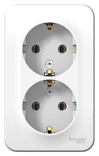 Розетка Schneider Electric BLNRA010211 2-ая с/з без шторок 16А, 250В, изолир. пластина (белый) наруж