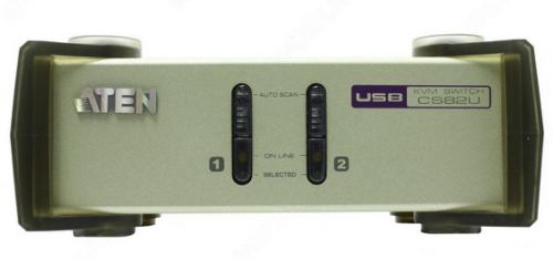 Переключатель Aten CS82U-AT KVM, 1 user PS2/USB+VGA => 2 cpu PS2/USB+VGA, со шнурами PS2/USB 2х1.2м., 2048x1536, настол., исп.стандарт.шнуры, без OSD,