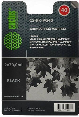 Заправочный комплект Cactus CS-RK-PG40 черный (2x30мл) Canon MP150/MP160/MP170/MP180/MP210/MP220