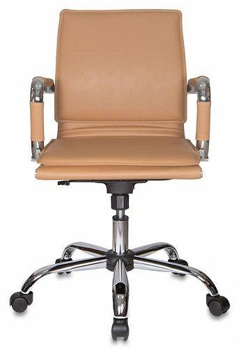 Фото - Кресло Бюрократ CH-993-LOW светло-коричневое, искусственная кожа, низкая спинка, крестовина хром кресло бюрократ ch 605 черное искусственная кожа крестовина металл