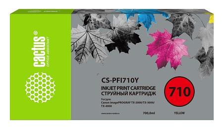 Картридж Cactus CS-PFI710Y желтый (700мл) для Canon imagePROGRAF TX-2000/TX-3000/TX-4000