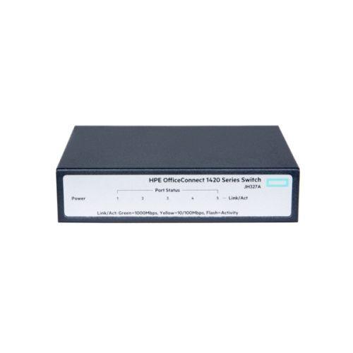 Фото - Коммутатор неуправляемый HPE JH327A 1420 5G, 5x10/100/1000 коммутатор hp 1420 jh330a коммутатор hp hpe 1420 8g poe 64w switch