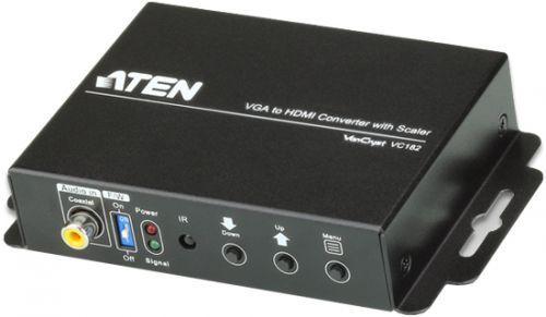 Конвертер Aten VC182-AT-G VGA+AUDIO>HDMI, HD-DB15+MIM-JACK>HDMI, Female, БП 5V, (1920x1200, 1080p, Analog + Digital stereo audio input)