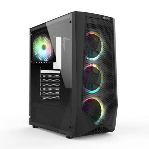 Корпус ATX HIPER ORO-4RGB закаленное стекло, RGB fan 4x120 мм, 1xUSB, HD Audio, чёрный