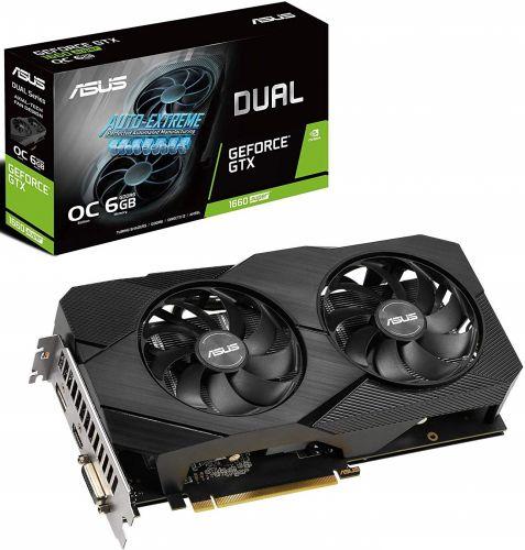 Видеокарта PCI-E ASUS GeForce GTX 1660 Super DUAL EVO OC (DUAL-GTX1660S-O6G-EVO) 6GB GDDR6 192bit 12nm 1530/14002MHz DVI/HDMI/DP/HDCP Ret