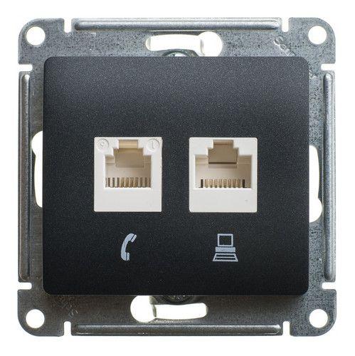 Розетка Schneider Electric GSL000785KK 2-ая компьютерная RJ45+RJ45, кат.5E антрацит