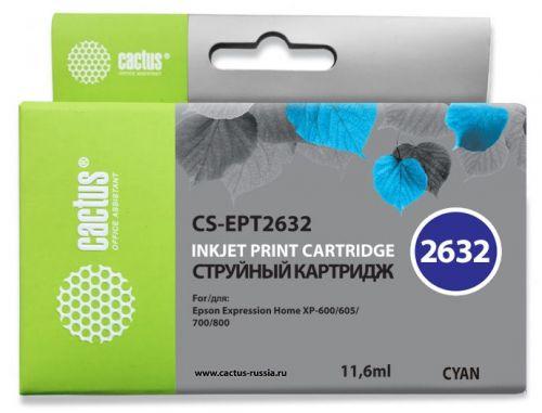 Фото - Картридж Cactus CS-EPT2632 голубой (11.6мл) для Epson Expression Home XP-600/605/700/800 ic et2634 картридж t2 для epson expression premium xp 600 605 700 710 800 желтый с чипом