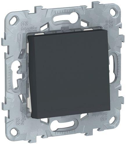 Фото - Выключатель Schneider Electric NU520654 UnicaNew, антрацит, 1-клавишный, кнопочный, сх. 1, 10 A выключатель schneider electric nu520118 unicanew белый 1 клавишный сх 1 10 ax 250в