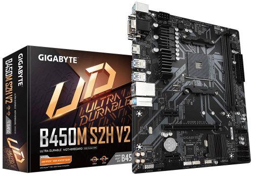 Материнская плата mATX GIGABYTE B450M S2H V2 (AM4, AMD B450, 2*DDR4(2933), 4*SATA 6G RAID, M.2, 3*PCIE, 8CH audio, Glan, 6*USB 3.1, D-Sub, DVI-D, HDMI материнская плата gigabyte b450 gaming x b450 socket am4 4xddr4 6xsata3 raid 1xm 2 2xpci e16x 4xusb3 1 dvi d hdmi glan atx