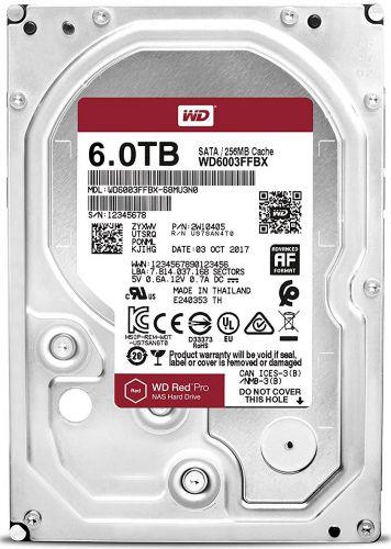 """WD6003FFBX Жесткий диск 6TB SATA 6Gb/s Western Digital WD6003FFBX 3.5"""" Red Pro NAS 7200rpm 256MB NCQ 238/238MBs Bulk"""