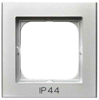 Рамка Ospel RH-1R/38 одинарнаядля выключателей IP-44, серебро матовое