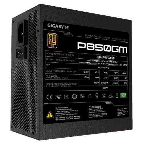 Блок питания ATX GIGABYTE GP-P850GM 850W, активный PFC, 120mm fan, 80PLUS Gold, отстегивающиеся кабели