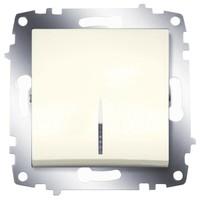 Выключатель ABB 619-010300-201 Cosmo одноклавишный с подсветкой, 10А, 250В, IP20 (кремовый) выключатель abb 619 011000 200 cosmo одноклавишный 10а 250в ip20 алюминий
