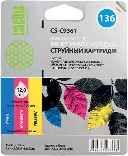 Картридж Cactus CS-C9361 №136 (трехцветный) для HP DeskJet 5443/D4163; OfficeJet 6313; PhotoSmart 2573/C3183/C4183/D5163; PSC 1513/1513s
