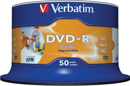Диск DVD-R Verbatim 43533 4.7ГБ, 16x, 50 шт., Cake Box, Printable