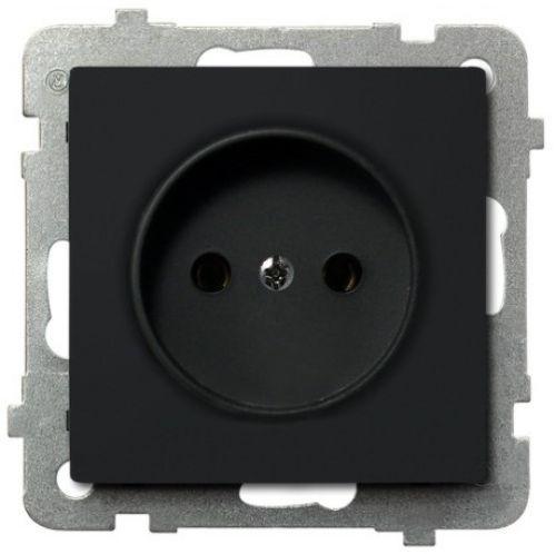 Розетка Ospel GP-1R/m/33 одинарная, 16A, 250V, IP-20, клеммы винтовые, черный металлик