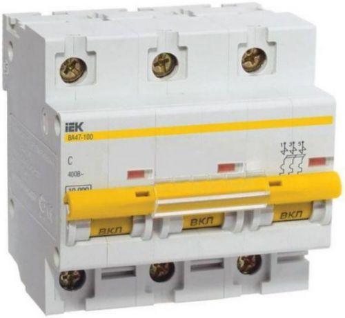 Автоматический выключатель IEK MVA40-3-080-C ВА 47-100 3Р 80А 10 кА х-ка С