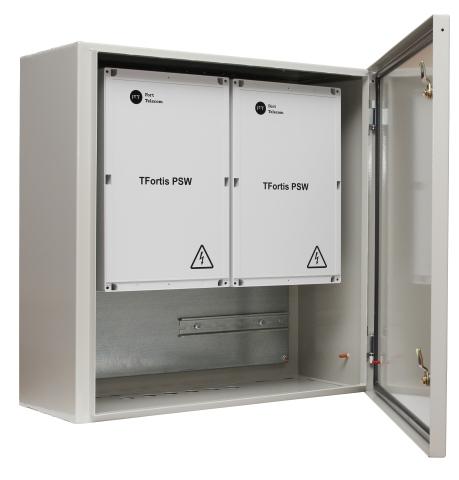 Шкаф TFortis CrossBox-3 металлический уличный навесной для установки коммутаторов TFortis PSW; IP 54; Металл 1 мм; RAL 7032; 600х600х250 мм