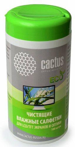 Салфетка Cactus CS-T1001E для экранов и оптики туба 100шт влажных