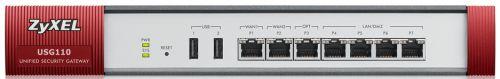 Межсетевой экран ZYXEL USG110-RU0102F с набором подписок на 1 год (AS,AV,CF,IDP), Rack, 2xWAN GE, 4xLAN/DMZ GE, 1xOPT GE, 2xUSB3.0, AP Controller (2/3