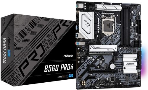 Материнская плата ATX ASRock B560 PRO4 (LGA1200, B560, 4*DDR4(4800), 6*SATA 6G RAID, 3*M.2, 4*PCIE, 7.1CH, Glan, HDMI, DP, 8*USB 3.2/USB Type-C) материнская плата supermicro mbd x12sae o lga1200 w480 4 ddr4 2933mhz 4 sata 6gb s raid 2 m 2 2 5glan glan 5 pcie 7 usb 3 2 usb type c 2