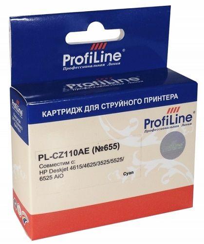 Картридж ProfiLine PL-CZ110AE-C №655 для принтеров HP Deskjet 4615/4625/3525/5525/6525 AiO Cyan водн ProfiLine картридж profiline pl cz110ae c