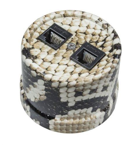 Розетка Bironi B1-301-12 королевская кобра, RJ11 телефонная двойная, пластик