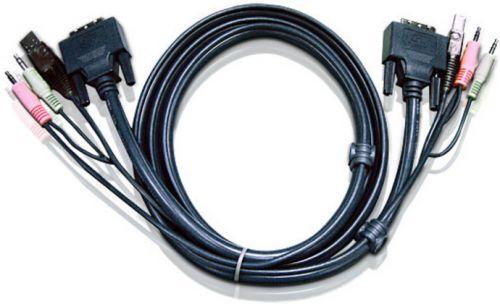 Кабель Aten 2L-7D02UD мон+клав+мышь USB+аудио, DVI-D Dual Link+USB A-Тип+2xRCA=>DVI-D Dual Link+USB B-Тип+2xRCA, Male-Male, опрессованный, 1.8 м, черн
