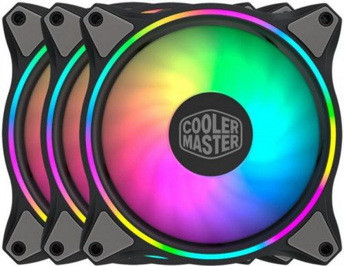 Вентилятор для корпуса Cooler Master MasterFan MF120 Halo 3in1 MFL-B2DN-183PA-R1 120x120x25mm, 650-1800rpm, 47.2 CFM, 6-30 dBA, 4-pin PWM (3 fan pack)