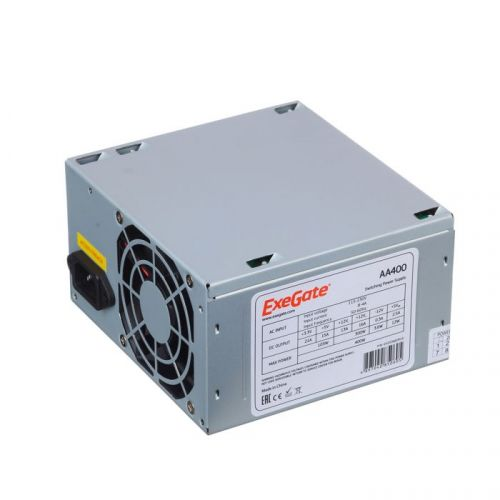 Блок питания ATX Exegate AA400 EX253682RUS 400W, 8cm fan, 24p+4p, 2*SATA, 1*IDE блок питания atx exegate uns400 es261567rus 400w 12cm fan 24p 4p 3 sata 2 ide fdd