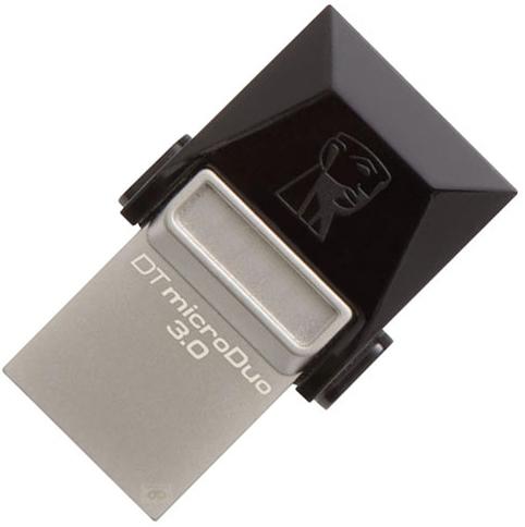 Накопитель USB 3.0 64GB Kingston DataTraveler microDuo DTDUO3/64GB черный usb flash накопитель 64gb kingston datatraveler generation 4 dtig4 64gb usb 3 0 бело фиолетовый
