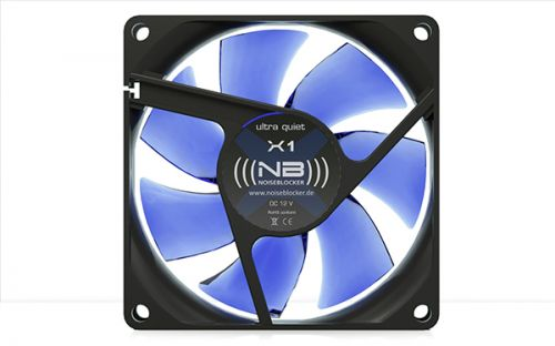 Вентилятор для корпуса Noiseblocker BlackSilentFan X-1 80x80x25mm, 1300rpm, 10dBA, 15CFM, 3 pin вентилятор noiseblocker blacksilentpro pr 1 60mm 1800rpm