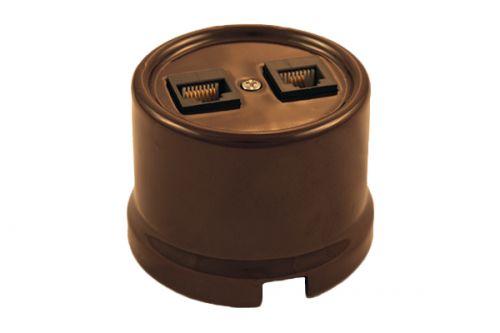 Розетка Bironi B1-303-02 коричневый, компьютерная 1-ая RJ45 + ТЛФ 1-ая RJ11