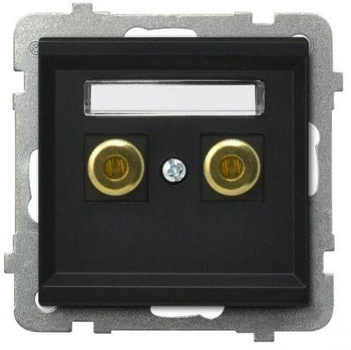 Розетка Ospel GGN-1R/m/33 для динамиков, одинарная, черный металлик