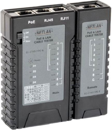 Кабельный тестер Netlan EC-CT4511PE UTP/STP, RJ11, RJ12, RJ45 с функцией определения PoE