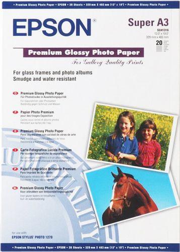 Фотобумага Epson C13S041316 Высококачественная глянцевая фотобумага, A3+, 20 листов, 255 г/м2
